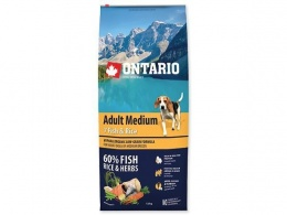 Ontario Adult Medium Fish a Rice 12kg + konzerva zadarmo