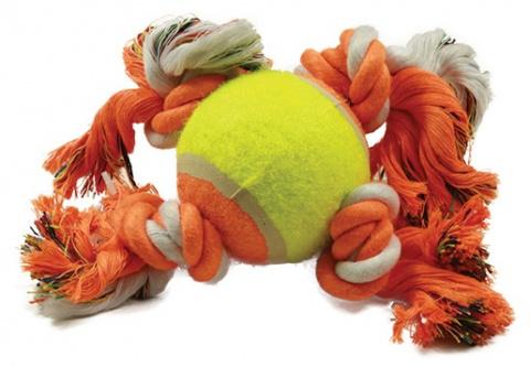 Hračka DOG FANTASY oranžovo-bílá 4 knoty + tenisák