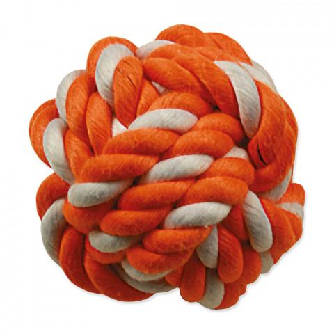 Hračka DOG FANTASY míč bavlněný oranžovo-bílý 12,5 cm title=