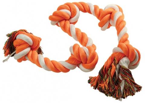 Uzel DOG FANTASY bavlněný oranžovo-bílý 5 knotů 95 cm