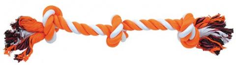 Uzel DOG FANTASY bavlněný oranžovo-bílý 3 knoty 50 cm