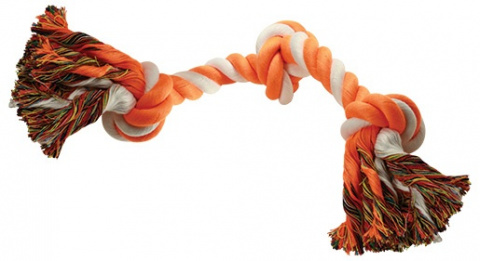 Uzel DOG FANTASY bavlněný oranžovo-bílý 3 knoty 40 cm