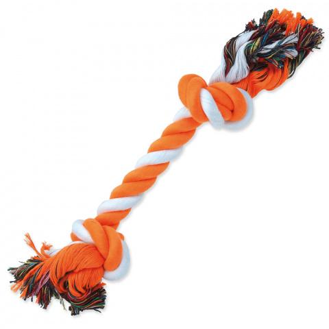 Uzel Dog Fantasy bavlněný oranžovo-bílý 2 knoty 30cm title=