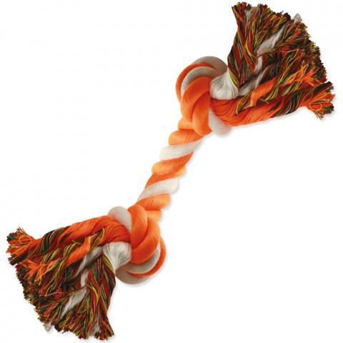Uzel DOG FANTASY bavlněný oranžovo-bílý 2 knoty 20 cm