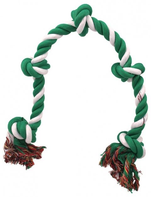 Uzel DOG FANTASY bavlněný zeleno-bílý 5 knotů 95 cm