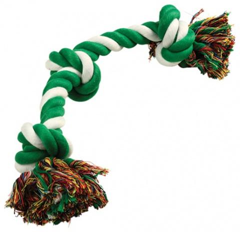 Uzel DOG FANTASY bavlněný zeleno-bílý 3 knoty 50 cm