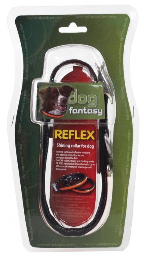 Obojek Dog Fantasy reflexní LED 60cm