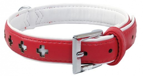 Obojek DOG FANTASY Design zdobený červený 37cm