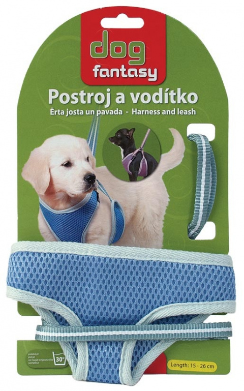 Vodítko +  postroj DOG FANTASY modrý 26cm