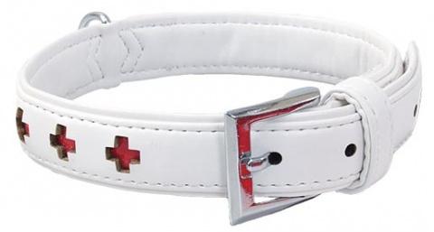 Obojek DOG FANTASY Design zdobený bílý 27cm