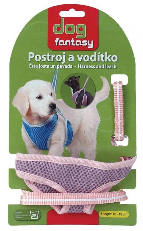 Vodítko + postroj DOG FANTASY růžový 10 - 18 cm