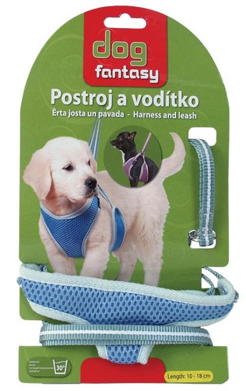 Vodítko +  postroj DOG FANTASY modrý 18cm