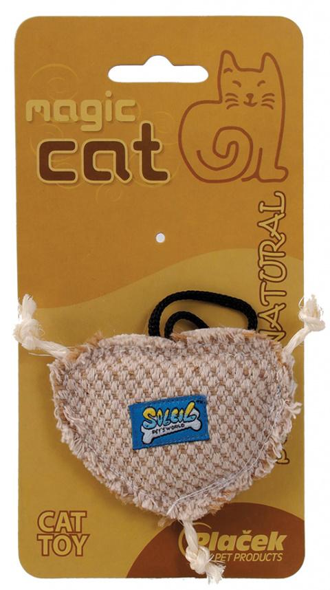 Hračka MAGIC CAT natural srdíčko catnip