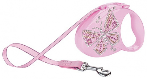 Vodítko FLEXI Glam motýl růžové S