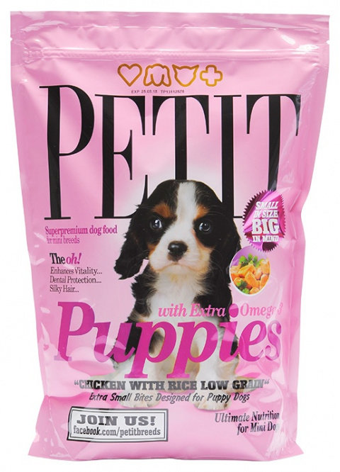 PETIT Dry Puppies with Extra Omega-3 Low Grain 1.5kg