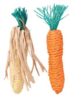 Hračka pro hlodavce Trixie slaměná mrkev a kukuřice 15cm 2ks