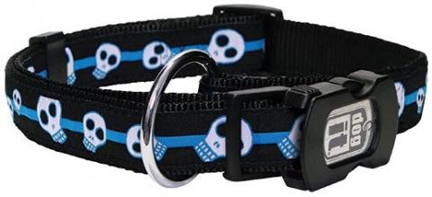 Obojek DOG IT Lebka modro - černý L