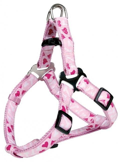 Postroj pro psy Trixie Rose Heart XS-S 30-40cm*15mm růžová