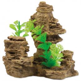 Dekorace Skála s rostlinou 14 cm