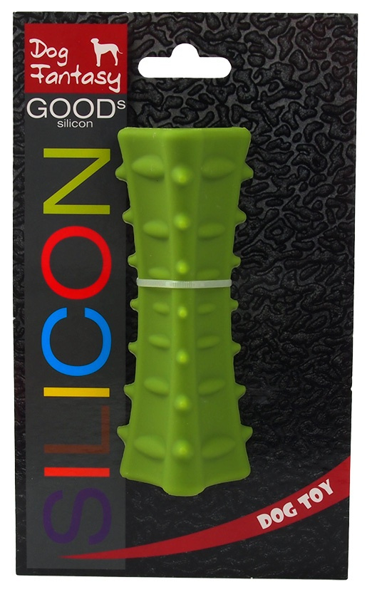 Hračka DOG FANTASY silikonový hranol tříboký tmavě zelený