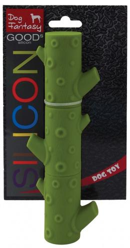 Hračka DOG FANTASY silikonová větev tmavě zelená