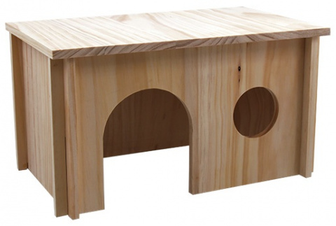 Domek Small Animal hladké dřevo 38x23x21cm