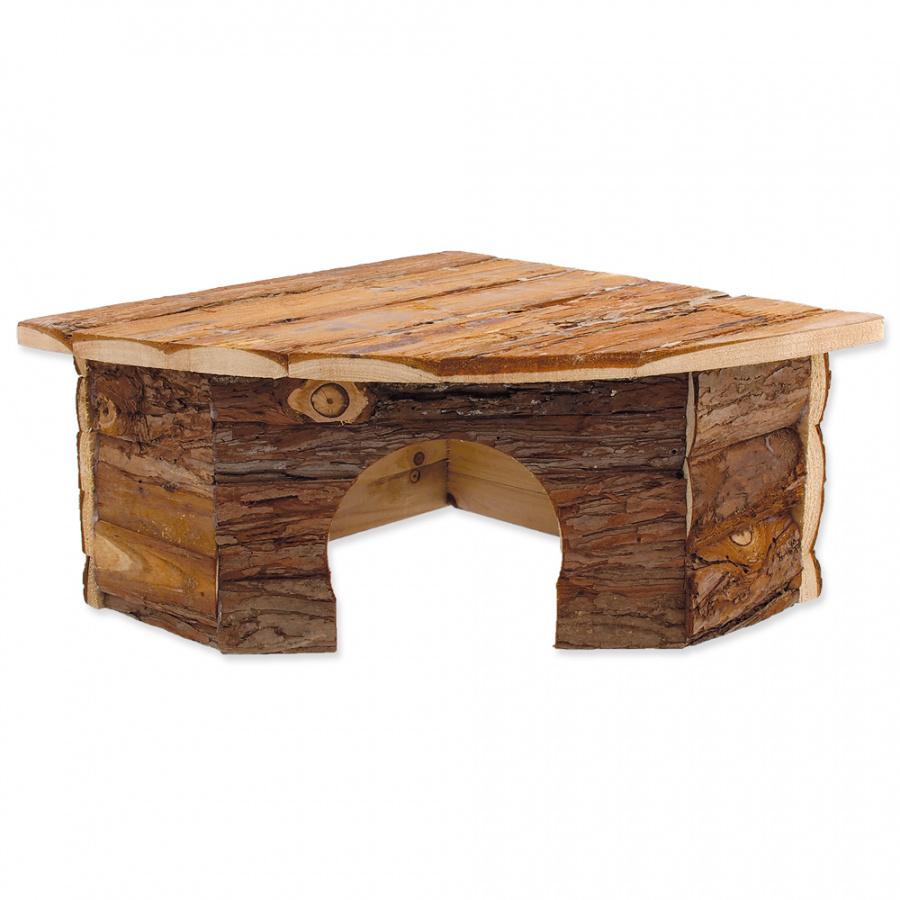 Domek SMALL ANIMAL Rohový dřevěný s kůrou 30 x 30 x 16 cm