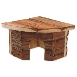 Domek SMALL ANIMAL Rohový dřevěný s kůrou 16 x 16 x 11 cm