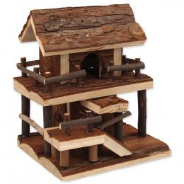 Domek Small Animals dvoupatrový s kůrou 17x15x20cm