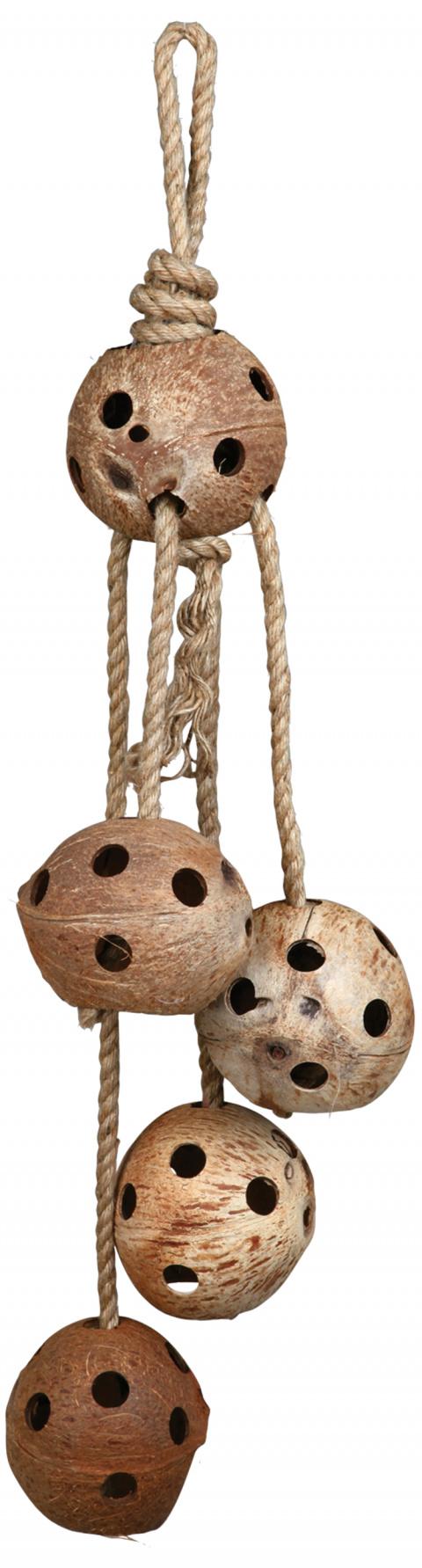 Hračka pro ptáky kokosy na provazu Trixie 72cm