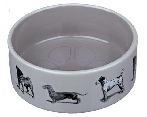 Miska keramická pro psy Trixie Dog motifs šedá 12cm*250ml
