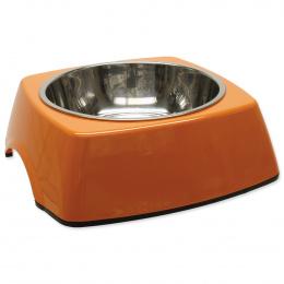 Miska DOG FANTASY nerezová čtvercová oranžová L  0.7l