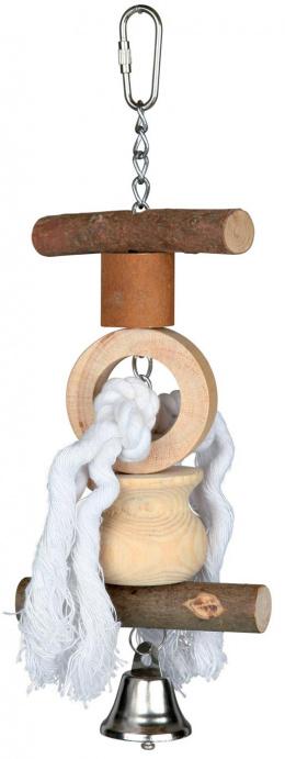 Hračka závěsná Living Toy provaz a zvonek Trixie 20cm