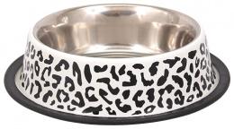 Miska DOG FANTASY nerez s gumou leopard 0,7l 23cm