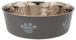 Miska Dog Fantasy nerez s gum. spodkem tlapka šedá 2,5l 23cm