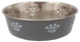 Miska Dog Fantasy nerez s gum. spodkem tlapka šedá 0,18l 11cm