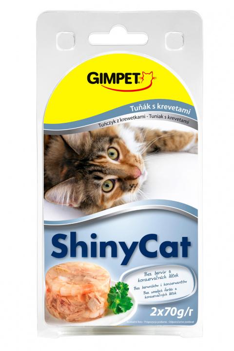 Konzerva SHINY CAT tun+krevety 2x70g
