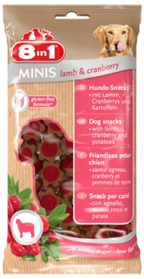 Pochoutka 8in1 Minis Lamb&Cranberry 100g title=