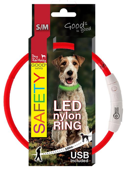 LED svítící obojek z nylonu červený 45cm