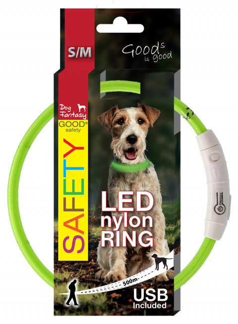 LED svítící obojek z nylonu zelený 45cm