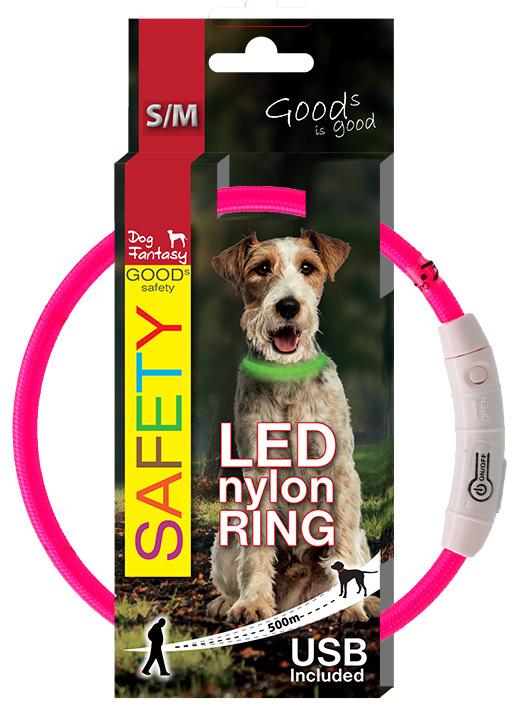 LED svítící obojek z nylonu růžový 45cm