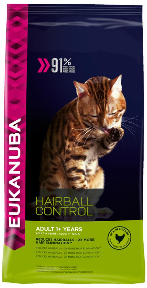 Eukanuba Cat Adult Chicken Hairball 2kg title=