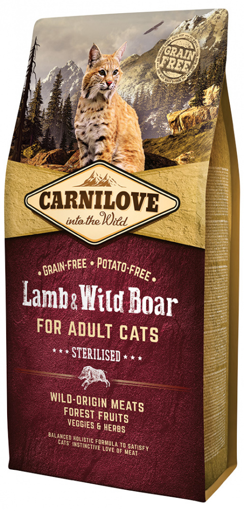 Carnilove Lamb and Wild Boar Adult Cats – Sterilised 6kg title=