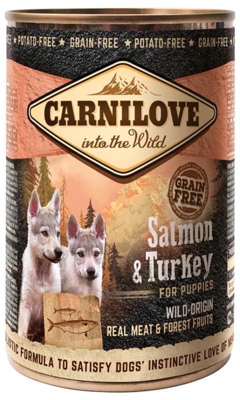 Konzerva Carnilove Wild Meat Salmon & Turkey pro štěňata 400g
