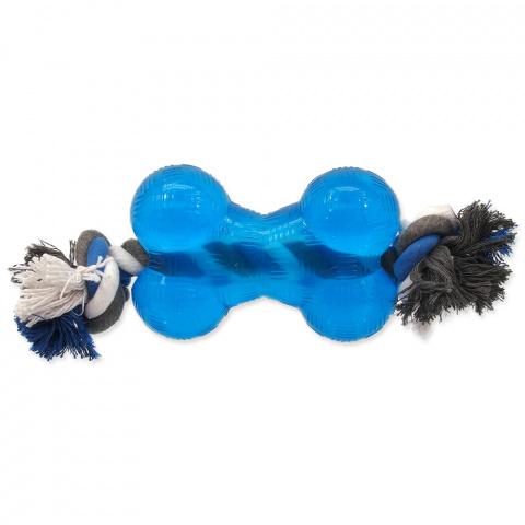 Hračka Dog Fantasy STRONG kost guma s provazem modrá  13,9 cm title=
