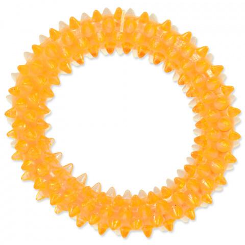 Hračka Dog Fantasy kroužek vroubkovaný oranžová 7cm title=