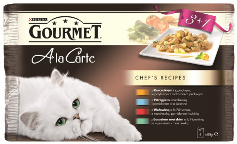 Gourmet A la Carte Multipack I. 4*85g 3+1 zdarma (kuře, hovězí, pstruh, tmavá treska)