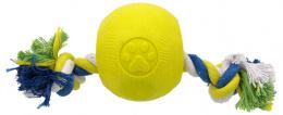 Hračka Dog Fantasy STRONG FOAMED míček guma s provazem 9,5cm
