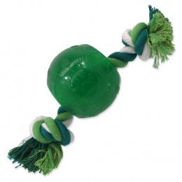 Hračka Dog Fantasy STRONG MINT míček guma s provazem zelený 8,2cm