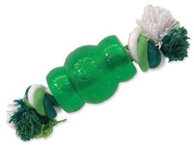 Hračka Dog Fantasy STRONG MINT soudek guma s provazem zelený 6,9cm
